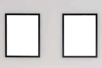 Stylish thin black blank frame on white wall. Modern home decor. Mock up.
