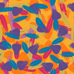Seamless colorful multicolor pattern with feathers. Design elements for textiles, covers and web. Vector illustration.