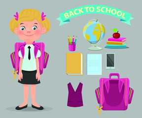 Creation of cartoon character school girl set with  аccessories.