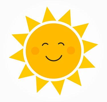 Cute smiling sun icon.