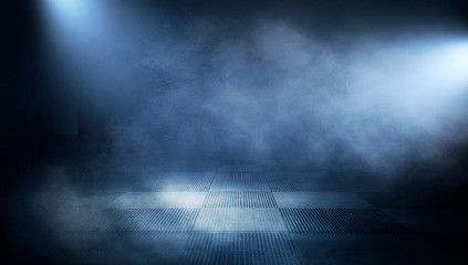 Empty dark room, cold dark background, smoke, smog, the light from the window falls to the floor. Dark blue gloomy background.  Reflection of light on a concrete floor.  3D rendering