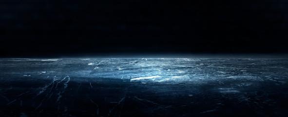 Empty dark room, cold dark background, smoke, smog, the light from the window falls to the floor. Dark blue gloomy background.  3D rendering Fototapete