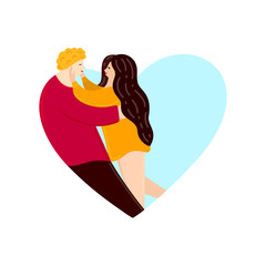 Lovers looking at each other and hugging. Heart shape. Happy Valentine's Day. Couple in love. Cute characters. Embrace. Flat design. Card, cover, poster, invitation, print on clothes. Vector, eps10