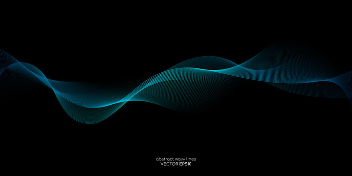 Abstract vector wave line flowing green and blue color isolated on black background for design elements in concept technology, music, science, A.I.