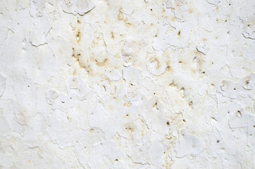 Old white plaster closeup