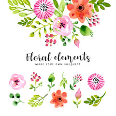 Watercolor floral elements in decorative style