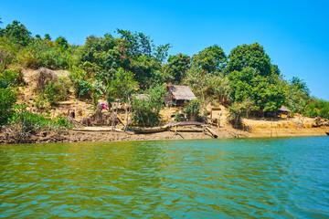 The fishermen's shanties, Kangy river, Myanmar.