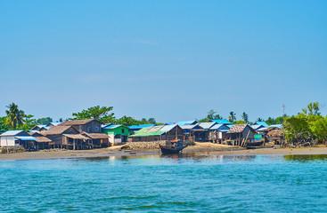 Fishermen huts in Chaung Tha, Myanmar