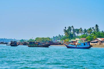 Fishing boats in Chaung Tha, Myanmar