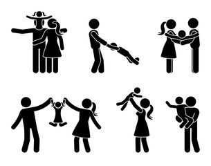 Stick figure happy family activity icon set. Father and mother with kids playing outdoor pictogram