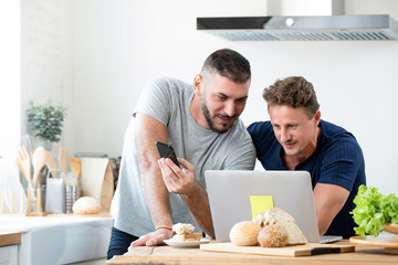 Male caucasian gay couple using laptop computer at home