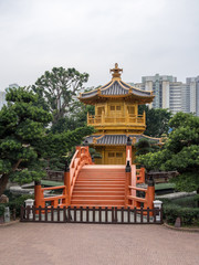 Temple in the Nan Lian Garden by Chi Lin Nunnery in Hong Kong