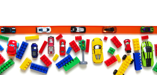 Toy car and racing track isolated on the white