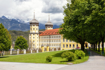 Exterior of the stams Abbey (Stift Stams) established by Cistercian monks in 1273 in Tyrol, Austria and later revamped in Baroque style.