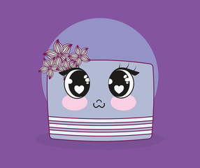 wedding card with cake kawaii character