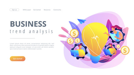 Business people in gears with laptops working and lightbulb. Business trend analysis and choosing business direction concept on white background. Website vibrant violet landing web page template.