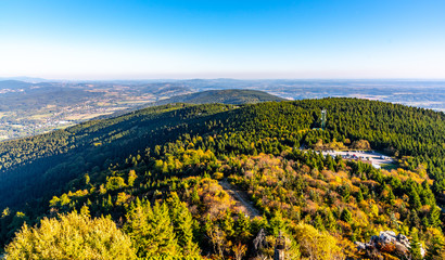 Aerial view of Jested ridge from Jested Mountain on sunny summer evening. Czech Republic.