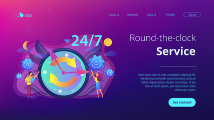 Businessman and woman near huge clock with round arrows working 24 7. 24 7 service, business time schedule, extended working hours concept. Website vibrant violet landing web page template.
