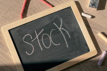 Stock. Blackboard. Colorful chalks.