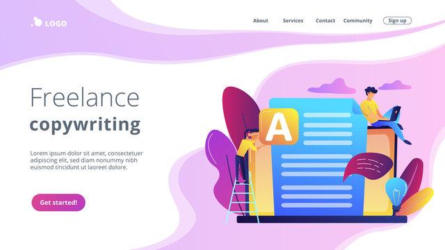 Copywriter at huge laptop writting creative advertising text. Copywriting job, home based copywriter, freelance copywriting concept. Website vibrant violet landing web page template.