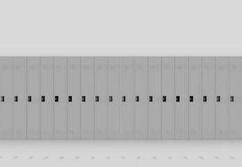 3d rendering. gray metal Lockers row on light wall background.