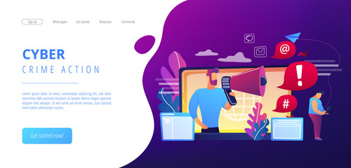 Target individual with laptop attacked online by user with megaphone. Internet shaming, online harassment, cyber crime action concept. Website vibrant violet landing web page template.
