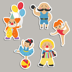 Set of circus characters.