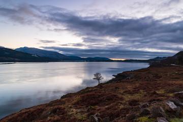 A sunset over Loch Linnie near the corran narrows and Ardgour, Lochaber, Scotland