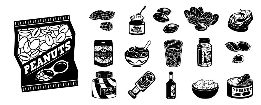 Peanut icons set. Simple set of peanut vector icons for web design on white background