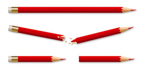 Face à l'adversité, le concept de la volonté avec un crayon brisé qui se transforme en deux nouveaux crayons pour gagner en efficacité