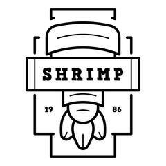 Fresh shrimp logo. Outline fresh shrimp vector logo for web design isolated on white background