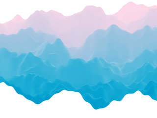 Poster Blauw Abstract futuristic 3D mountains foggy landscape on alien planet. Space surface - sci-fi backdrop. Virtual reality concept or cyberspace background. Fictional world, vector EPS10 illustration.