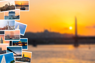 Istanbul photo collage on the bokeh background. Istanbul, Turkey.