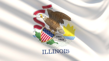 State of Illinois flag. Flags of the states of USA.