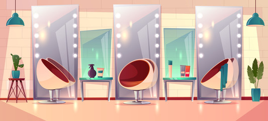 Vector background with female hairdressing salon, interior. Barbershop for women haircutting and makeup. Grooming place with mirror, beauty club with professional devices, towels. Fashion concept.