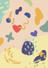 Abstract modern and stylish digital background with different shapes. Memphis colorful pattern, bright colors.