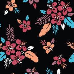 Large Bold Colorful Tropical Exotic Foliage, Hibiscus Floral Vector Seamless Pattern. Lush Tropical Palm Leaves