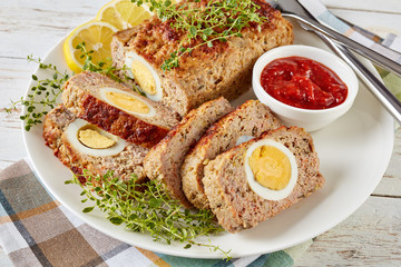 overhead view of tasty Egg Stuffed Meatloaf