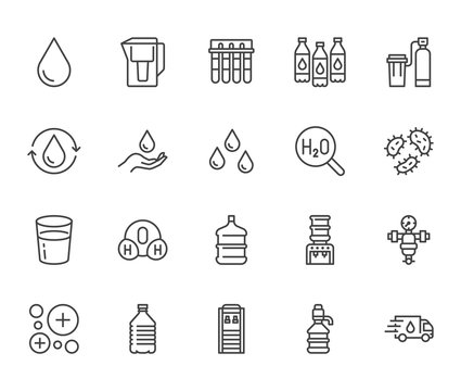 Water drop flat line icons set. Aqua filter, softener, ionization, disinfection, glass vector illustrations. Thin signs for bottle delivery. Pixel perfect 64x64. Editable Strokes