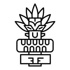 Tribal tiki idol icon. Outline tribal tiki idol vector icon for web design isolated on white background