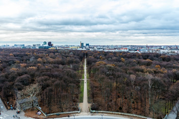 Views of the city of Berlin from the top of the statue of Victory