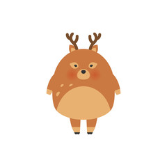 Deer cartoon illustration design.Cute bambi animal vector.Merry christmas card. Hare fashion child vector. Cool and lovely deer illustration for t-shirt, kids apparel, invitation, simple child design.