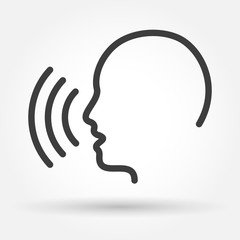 Voice control icon. Speak or talk recognition linear icon, speaking and talking command, sound commander or speech dictator head, vector illustration
