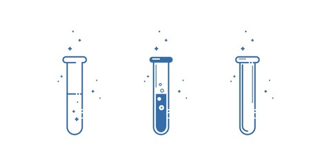 A test tube. Icons set. Equipment for chemical laboratory. Line design. Vector