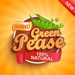 Fresh green pease logo, label or sticker on sunburst background. Natural, organic food.Tasty vegetables,Concept for farmers market, shops, packing and packages, advertising design.Vector illustration.