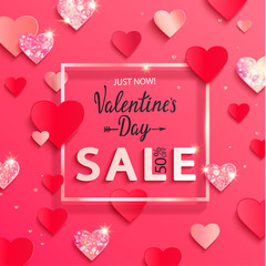 Valentines day sale banner with paper shiny glitter hearts,lettering,poster template.Pink abstract background with shimer hearts ornaments, origami style.Discount flyer,card for february 14.Vector