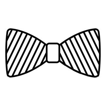 Striped bow tie icon. Outline striped bow tie vector icon for web design isolated on white background
