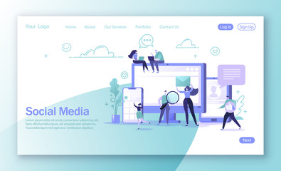 Vector illustration for mobile website development and web page design. Man and woman characters chatting and blogging using mobile devices. Global internet community. Virtual communication concept.