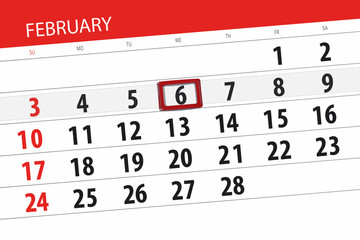 Calendar planner for the month february 2019, deadline day, 6 wednesday