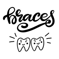 Lettering vector illustration about dental health care with the image of braces on teeth. EPS10. The image of the stages of orthodontic treatment for posters for dental clinic.
